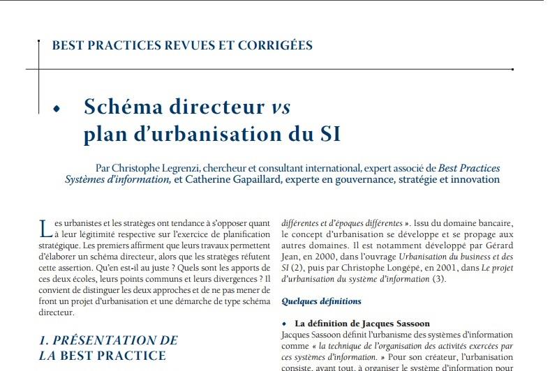 Schéma Directeur VS Plan d'urbanisation du SI